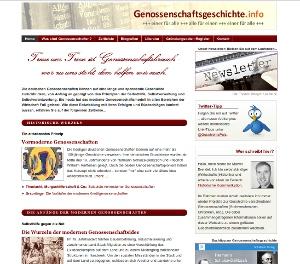 Webseite genossenschaftsgeschichte.info (Screenshot)